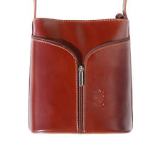 TJS Genuine Leather Crossbody Handbag Handmade in Italy Florence Brown