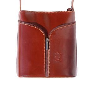 TJS Genuine Leather Crossbody Handbag Handmade in Italy Florence Brown
