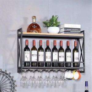 Wine Rack Hanging Glass Holder Shelf Wall Mount Metal Champagne Bottle Bar Decor