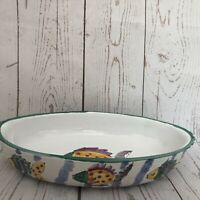Nautical/ Fish Deep Dish Ceramic Server Bowl marked Anita White Green Rimmed