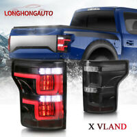 Pair Black Full LED Brake Tail Lights Rear Lamps For 2015-2017 Ford F-150 Pickup