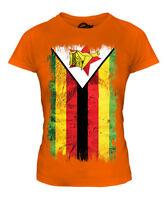 ZIMBABWE GRUNGE FLAG LADIES T-SHIRT TOP ZIMBABWEAN SHIRT FOOTBALL JERSEY GIFT