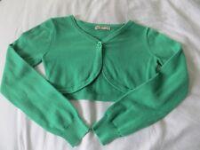 Girls John Lewis Long Sleeve Green Cropped Cotton Cradigan / Bolero Age 7yrs
