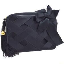 CHANEL CC Fringe Ribbon Shoulder Bag Black Satin Leather 2939482 AK17432f