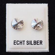 NEU 925 Silber OHRSTECKER 8mm SWAROVSKI STEINE RIVOLI silvershade OHRRINGE