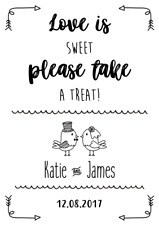 Love is Sweet Please Take a Treat Wedding Sign! Wedding Signs! BUY 3 GET 1 FREE!