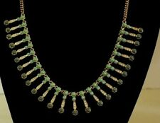 green stones and rhinestone dangles J.Crew long gold tone chain with