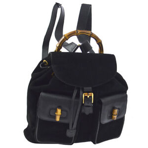 GUCCI Bamboo Backpack Bag Black Suede Leather Italy Vintage RK13918f