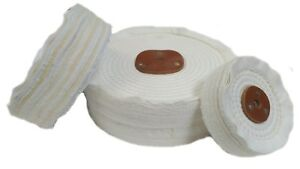 """White Close Stitch Polishing Mops 3"""" to 12"""" Many sizes  with leather centre"""