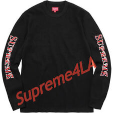 e6381eb8df93 Supreme 17F W Sleeve Logo Waffle Thermal Black Size XL 1000% Authentic in  Hand