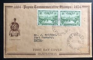1934 Port Moresby Papua New Guinea First Day Cover FDC Commemorative Stamp