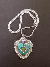 Aldrich, Sterling Silver, Sugilite, Turquoise, Opal & Amethyst Inlaid Pendant