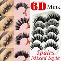 5 Pairs/Pack Mink Hair Fake  False Eyelashes Long Natural Curly Eye Lashes NEW