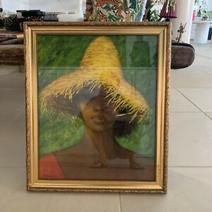 S Rajko Print Framed Yellow Hat Not Vintage