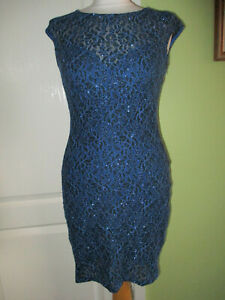 LIPSY SIZE 10 WOMENS BLACK/BLUE SPARKLY METALLIC PENCIL DRESS