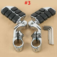 "For Harley 1 1/4"" Engine Guard Highway Foot Pegs Footrest + Short Angled Clamps"