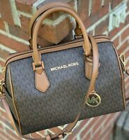 NWT MICHAEL KORS HAYES MK BROWN SIGNATURE SATCHEL DUFFLE TOTE  BAG PURSE