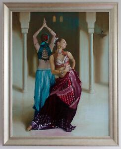 Original Framed Oil Painting 2 Belly dancers dancing girls female women exotic
