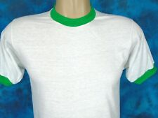 NOS vintage 80s BLANK SCREEN STARS PAPER THIN RINGER T-Shirt SMALL beach surf