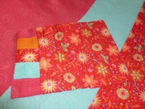 Bedspread Quilt Hot Pink Turquoise Orange Flowers Twin Blanket & Sham