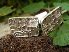 Ancienne paire de boutons de manchette en argent décor design motif créateur ...