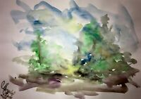 ORIGINAL Malerei A3 PAINTING art abstrakt Landschaft landscape abstract aquarell
