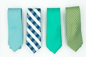 Aqua Mint Blue Green Green Satin Neck Skinny Men Plaid Check Tie  (Pack of 4)