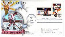 #2070 Olympics Ice Hockey Dorothy Knapp Hand Painted Cachet 1984 FDC