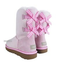 UGG Bailey Bow II Gingham Sea Shell Pink Suede Fur Boots Womens Size 11 *NIB*