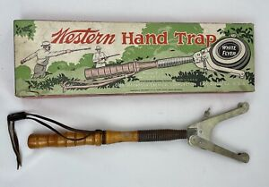 Vintage Western Hand Trap White Flyer with Box Skeet Shooting b1