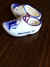 VINTAGE PAIR OF DUTCH WOODEN Porcelain SHOES MADE IN SOLVANG, CALIFORNIA
