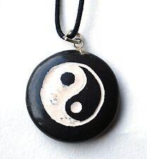 Vente de reiki Black Agate Yin Yang cristal Pendentif Peint à la main collier