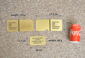 submarine plaques vintage brass torpedo plaques old naval plaques x 3 Free post
