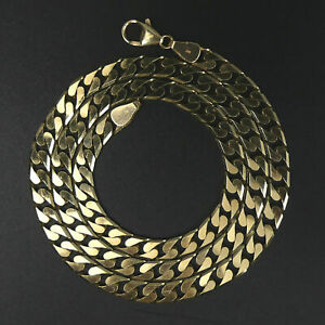 HEAVY 9 CT GOLD 51 CM FLAT CURB LINK CHAIN NECKLACE 31.4 GRAMS