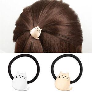 Women  Metal Cat Hair Band Hair Rope Elastic Tie Ponytail Holder Sexy Gold BLJC1