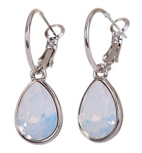 Swarovski Elements Crystal White Opal Teardrop Earrings Rhodium Authentic 7258u