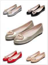 Women's Bead Causal Flats Soild Loafers Ballet Faux Pearl Boat  Slip On Shoes Sz