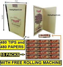 """RAWL BOOK"" 480 TIPS+15 PACKS Classic RAW 1 1/4 Rolling Papers+ROLLING MACHINE"