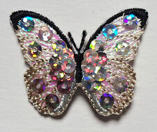 SEQUIN BUTTERFLY white irn on applique