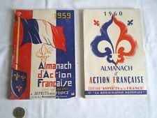 2 ALMANACHS D'ACTION FRANÇAISE ANNÉES 1959 ET 1960