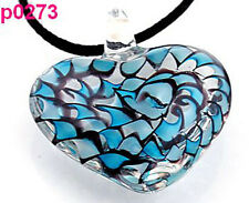 preety special handwork heart lampwork glass beaded pendant necklace p273