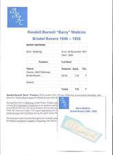 Barry WATKINS Bristol ROVER 1946-1955 rara mano originale firmato TAGLIO / CARD