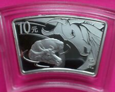 2009 CHINA LUNAR OX FAN SHAPED SILVER COIN 10 YUAN WITH COA AND BOX