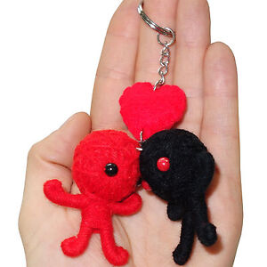 2 X Valentines Day Red Love Heart Romance Voodoo Doll Keyrings Keychains Gifts