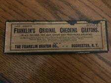 Vintage Franklin's Checking Crayons Advertising Box, 4 Drawing Pencils Black