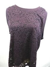 Gap XL Women's Top Purple Textured Front Swoop Neck Sleeveless Stretch Blouse