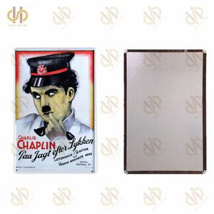 "Vintage Tin Sign 8""*12"" Charlie Chaplin Metal Poster Plaque Living Room Wall Art"
