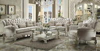 Decorative Living Room Traditional Furniture Ivory Velvet Finish Sofa & Loveseat