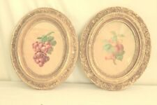 Picture frames antique one pair oval wooden carved gold leaf plaster 11 x 13