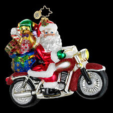 "Radko Rebel Without A Claus 5 1/2"" Santa On Motorcycle 1016182 NWT"